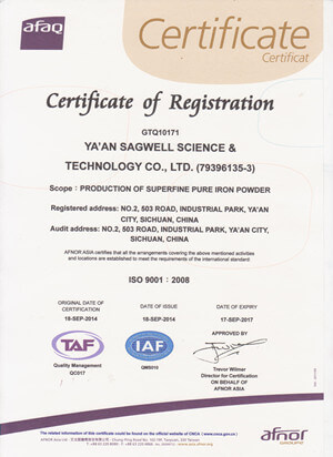 sagwell ISO 9001 certificate